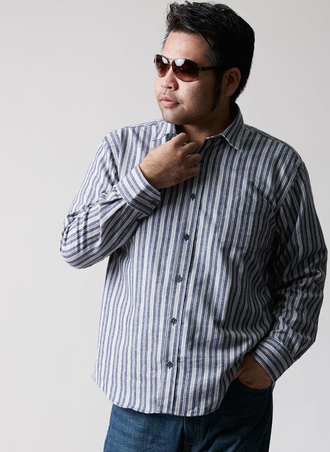 大きいサイズメンズQZILLAストライプ長袖ネルシャツ