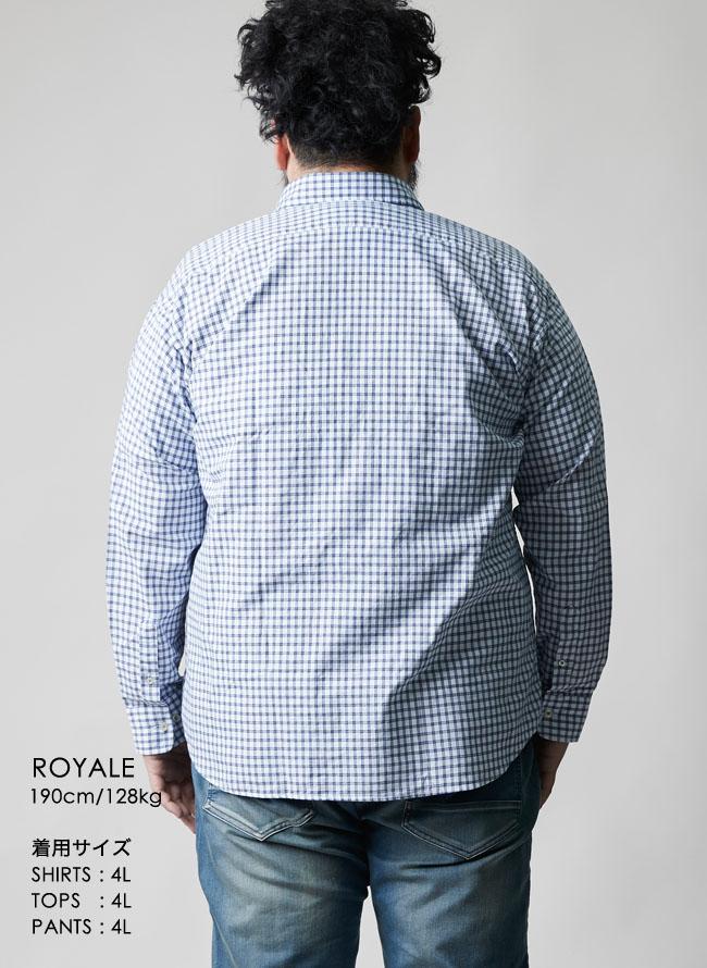 インド綿ピンチェック柄長袖シャツ
