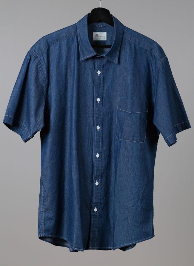 インド綿デニム風半袖シャツ ブルー