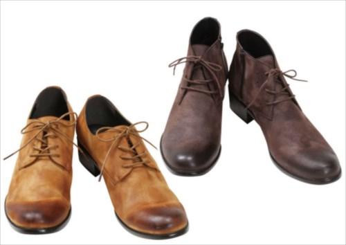 大きいサイズのメンズ服は【QZILLA by Mr.Bliss】へ -大人かっこいいファッションを楽しもう!-。皮(レザー)の靴が二足並んでいる画像